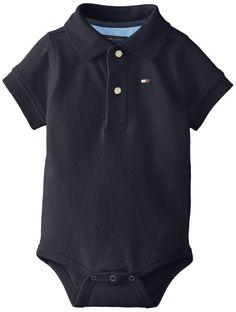 Tommy Hilfiger Baby-Boys Infant Short Sleeve Ivy Bodysuit, Blizzard Blue, 9 Months