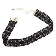 BLACK Floral Finish Lace Choker ($3.67) ❤ liked on Polyvore featuring jewelry, necklaces, black, lace jewelry, chain choker necklace, floral necklace, fake jewelry and choker necklaces