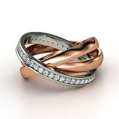 Triple Rolling Rings, Rose Gold Ring with Diamond from Gemvara-Something like this but in mens.