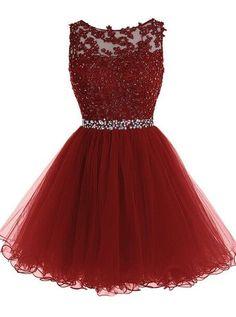 A-Line Tulle Short Prom Dress,Homecoming Dress,Graduation Dress,Party Dress F37