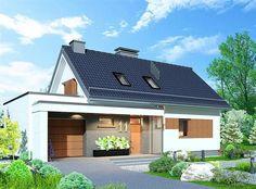 Projekt Domidea 58 mG Dream Home Design, House Design, Garage Extension, Design Case, Home Fashion, Minimalism, Garage Doors, Shed, Exterior
