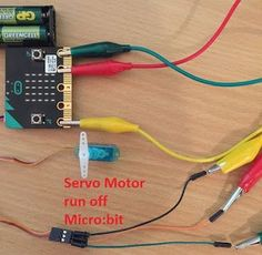 The above image shows a Micro:bit hardwired into a servo motor which is just about its limit. Block Editor Coding: Servo Connect...