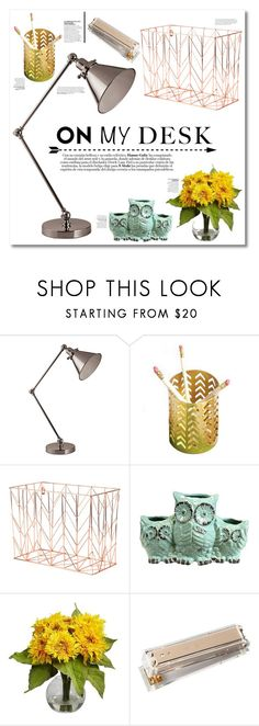 """""""On My Desk"""" by southernautumn ❤ liked on Polyvore featuring interior, interiors, interior design, home, home decor, interior decorating, Universal Lighting and Decor, U Brands, Nearly Natural and Kate Spade"""