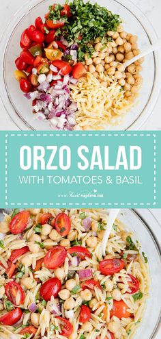 This Orzo Salad is one of my favorite Summer side dishes! Topped with a delicious homemade vinaigrette, this orzo pasta is so fresh and loaded with fantastic flavor. Such a healthy and filling side dish recipe!