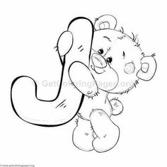 Teddy Bear Alphabet Letter J Coloring Pages Letter B Coloring Pages, Printable Christmas Coloring Pages, Cute Coloring Pages, Coloring Sheets, Coloring Pages For Kids, Coloring Books, Alfabeto Animal, Abc Cartoon, Teddy Bear Pictures