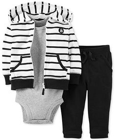 Carter's Boys 3 Piece Black/White Striped Zip Up Hoodie, Grey Short Sleeve Bodysuit, and Pant Set Outfits Niños, Baby Boy Outfits, Kids Outfits, Carters Baby Boys, Toddler Boys, Baby Boy Fashion, Kids Fashion, Baby Swag, Baby Kids Clothes