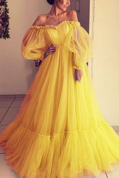 Long Sleeve Evening Dresses, Prom Dresses Long With Sleeves, Ball Dresses, Evening Gowns, Ball Gowns, Yellow Dress With Sleeves, Long Yellow Dress, Off Shoulder Evening Gown, Yellow Evening Dresses