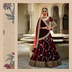 This collection borrows heavily from hedonism and decadence. Drying rose petals, gulkand, kishmish, cardamom, zarda and pomegranate set the mood and the colour palette. Deep brooding burgundy and russet over layered with antiquated zardosi, semi-precious stones and Pearls form the basis of these baroque bridalwear lehengas. #Sabyasachi #TheGulkandCollection #Bridalwear #DiamondJewellery #JadauJewellery #GoldJewellery #BridalJewellery #IndianDesigner #IndianCouture2017 #TheWorldOfSabyasachi…