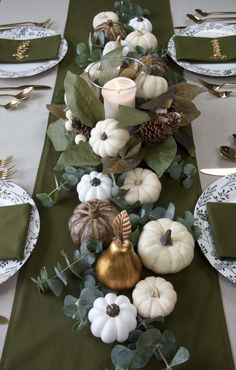 Fall Green Gold White Thanksgiving Tablescape l JMS Entertaining Pumpkin Table Decorations, Green Wedding Decorations, Pumpkin Centerpieces, Thanksgiving Centerpieces, Centerpiece Decorations, Christmas Decorations, Holiday Decorating, Thanksgiving Table Settings, Christmas Table Settings