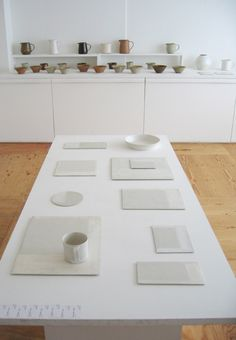 I like the white on white idea, keeps things light and spacious. Ceramic Bowls, Ceramic Pottery, Fired Earth, Earth 2, Store Interiors, Japanese Ceramics, Wonderful Things, Jewellery Display, Modern Jewelry