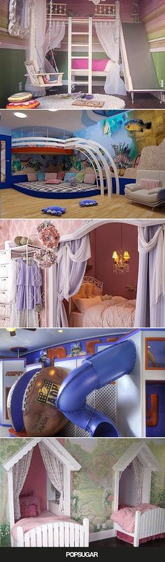 These 26 Crazy Kids' Rooms Will Make You Want to Redecorate Immediately These 17 crazy-cool bedrooms will give you inspiration for days if you're looking to amp up your son or daughter's room, or if you're just looking for some quirky ideas. Dream Rooms, Dream Bedroom, Bedroom Boys, Kid Bedrooms, Rich Girl Bedroom, Childrens Bedrooms Boys, Girl Rooms, Master Bedroom, Cool Bedroom Accessories