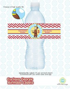 Curious George Birthday Party Custom Water by MasterPeaceDesigns, $6.00