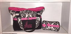 Personalized Diaper Bag/ Tote Bag In Black and White Damask Print With Hot Pink.  Add On Matching Accessories by CeeJaze on Etsy