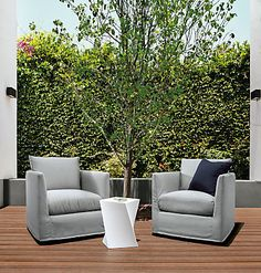 The Palm outdoor swivel chair combines weather-proof materials with indoor-worthy design. Open-cell outdoor foam and a marine-grade plywood frame with a built-in drain channel work together to allow water to escape for quick-drying performance.