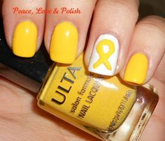 Not only is the yellow ribbon for our troops and suicide awareness, but it's also for Sarcoma (a cancer that plagues my bro-in-law). Spina Bifida too! Love Nails, Fun Nails, Childhood Cancer Awareness, Awareness Ribbons, Cute Nail Designs, Mellow Yellow, Hair And Nails, Troops, Bro