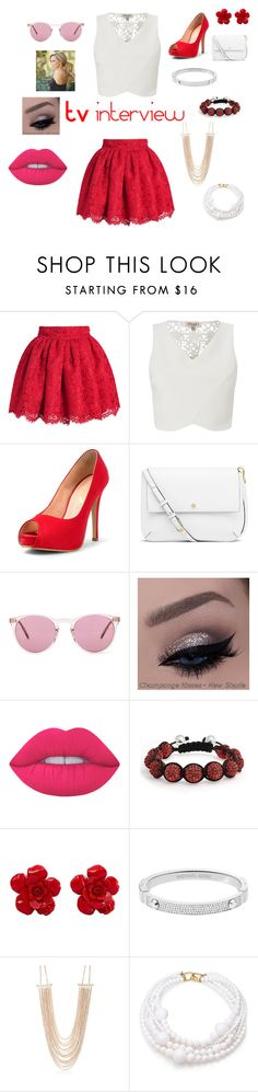"""""""TVs interview"""" by minions4ever123 on Polyvore featuring Lipsy, Tory Burch, Oliver Peoples, Lime Crime, Bling Jewelry, Chanel, Michael Kors, New Directions and Kenneth Jay Lane"""