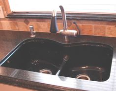 Grohe Stainless/black Faucet In Kohler Langlade Sink In Black In Zodiaq In  Space Black