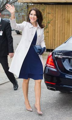 Crown Princess Mary of Denmark  Always classy, the Denmark royal looked timeless in this navy dress and white jacket pairing. Mary was on hand to greet the president of the United Mexican States.