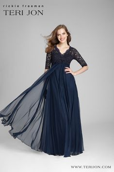 This mother of the bride or groom dress is elegant to wear for that special day down the aisle. The floral appliques at the waistline add for a girly but still classy style. The light and flowy material makes this dress perfect for outdoor day or evening weddings. Backyard Wedding Dresses, Backyard Weddings, Chiffon Gown, Classy Style, Navy Lace, Groom Dress, Mother Of The Bride, Appliques, Bride Groom
