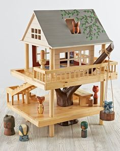 We've scaled down the classic treehouse from Camp Wandawega to fit into your kid's playroom. Our Treehouse Play Set and is made from wood, it's handpainted, and it comes with a set of our Camping Buddies Wooden Dolls. Part of our exclusive Camp Wandawega for Nod Collection.