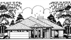 New American House Plan with 1052 Square Feet and 3 Bedrooms from Dream Home Source | House Plan Code DHSW74340