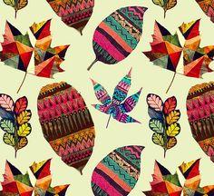 Folhas pintadas por Gabee Meyer  de São Paulo são lindas... ela pinta padrões contemporâneos sobre as folhas... Adorei a idéia do suporte...
