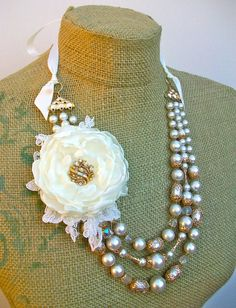 Wintertide  tie necklace with Vintage beads and by WrappedInClover, $85.00