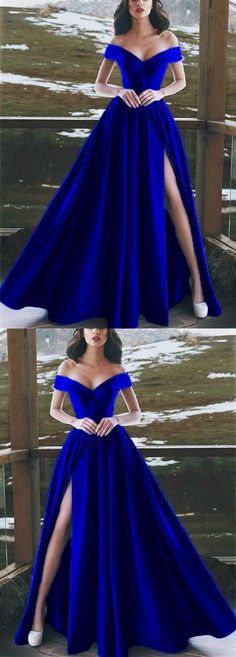 Elegant V-neck Off The Shoulder Long Satin Royal Blue Prom Dresses P2511