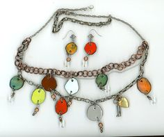 Layered chain charm necklace earring demi set by AbbysTreasures, $38.00