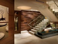 spectacular modern staircase glass stainless steel impressive wall panels