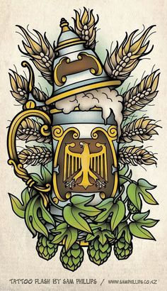 Sam Phillips: German Beer Stein Tattoo Not a fan of the stein, but I dig the hops and wheat detail Tattoo Drawings, Body Art Tattoos, Hop Tattoo, Germany Tattoo, Sam Phillips, German Beer Steins, Beer Art, Beer Festival, Flash Art