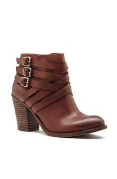 Women's Bourbon Leather 3 Inch Stacked Heel Leather Bootie