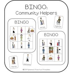 community helpers | Community Helpers Picture Bingo