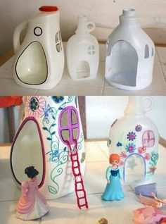 Easy ways to upcycle and recycle milk jugs. Stop wasting your empty milk jugs with these 10 unique ideas! A range of creative ideas from fun to practical. Activities you must try if you have any empty milk jugs lying around. Kids Crafts, Diy And Crafts, Craft Projects, Arts And Crafts, Garden Projects, Garden Crafts, Kids Diy, Creative Crafts, Creative Ideas