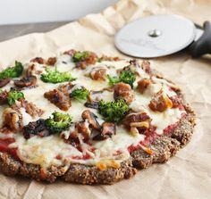 Blown away by this Low Carb Flax & Parmesan Pizza Crust (Gluten Free) from I Breathe... I'm Hungry... It looks so crispy and delicious!