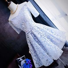 Off Shoulder Homecoming Dresses,,Lace Homecoming Dresses,Short Sleeves Homecoming Dresses,Knot Cocktail Dresses#SIMIBridal #homecomingdresses