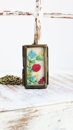 Embroidered Flower Locket by Thimbleful on Etsy, $30.00