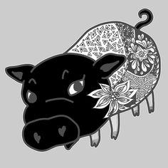 お友達の更にそのお友達の持っている黒豚のチェルシーを描きました  #アートワーク #ボタニカル柄