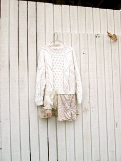 cotton ecru or cream sweater dress / romantic Upcycled clothing / Patchwork Sweater Dress / by CreoleSha, $87.00