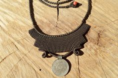 macrame necklace,macrame jewelry,macrame pendant,vintage coin necklace,thread necklace,adjustable necklace,boho necklace,cord necklace by ARTEAMANOetsy on Etsy