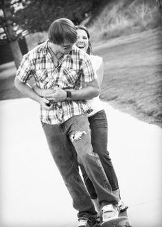Mr. & Mrs. Honey played on a skateboard in one of their two engagement sessions. Photo by Candace Cross Photography.