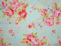 Princess Rose Floral Collection Antique Pastel Flower Aqua Blue Pink Lecien | eBay