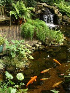 45 special diy garden pond waterfall ideas 25 inspiring koi pond ideas for your backyard Fish Ponds Backyard, Outdoor Ponds, Backyard Water Feature, Koi Ponds, Outdoor Fountains, Backyard Waterfalls, Garden Ponds, Water Fountains, Garden Fountains