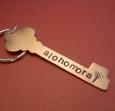 Harry Potter Inspired - Alohomora - A Hand Stamped Brass or Copper Keychain