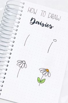 How cute are is this super simple daisy doodle tutorial! Check out the rest of the list for more flower doodle ideas! flowers doodle 17 Amazing Step By Step Flower Doodles For Bujo Addicts - Crazy Laura Bullet Journal Banner, Bullet Journal Writing, Bullet Journal Notebook, Bullet Journal Aesthetic, Bullet Journal Ideas Pages, Bullet Journal Inspiration, Bullet Journals, Dandelion Drawing, Easy Doodle Art