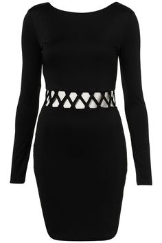 Topshop- Long Sleeved Black Dress with White and Black Roped Belt at Waist Line