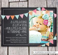 Chalkboard Invitation - Bunting Invitation - Chalkboard Birthday Invite - First Birthday or Any Age & Any Text - Photo Inivitation Printable. $15.00, via Etsy.