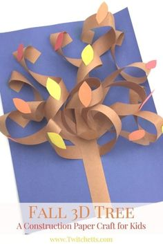 This constructions paper tree is a fun construction paper craft. Create it all seasons by just switching up the fall leaves for blossoms, green leafs, apples, or leave them bare.A fall construction paper tree with a twist. This fun autumn tree is a g Fall Crafts For Kids, Paper Crafts For Kids, Paper Crafting, Holiday Crafts, Easy Crafts, Art For Kids, Arts And Crafts, Autumn Art Ideas For Kids, Fall Leaves Crafts