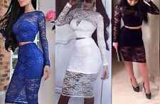 Sexy Women Ladies Two Piece Lace Crop Tops Skirt Dress Bodycon Midi Dress