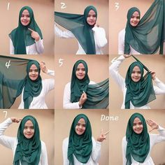 hijab styles step by step,abaya designs,abaya fashion,hijab style to wear a hijab in different styles,hijab styles step by step with pictures Beau Hijab, Hijab A Enfiler, Turban Hijab, Hijab Chic, Hijab Bride, Wedding Hijab, Wedding Dresses, Square Hijab Tutorial, Hijab Style Tutorial